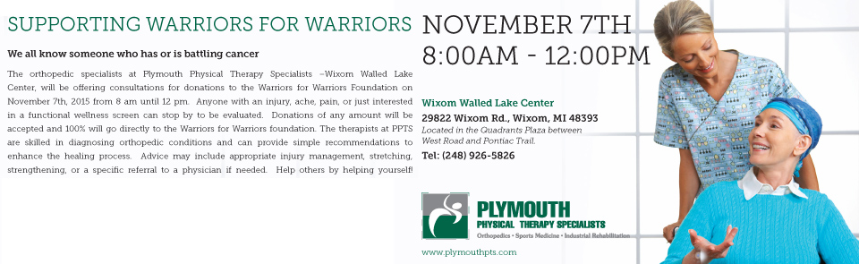 Plymouth Physical Therapy Specialists Supporting Warriors for Warriors – November 7th